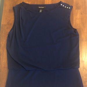 Navy blue sleeveless top.